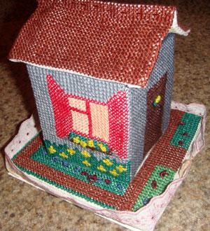 Рукоделие — вышивка объемная — домик