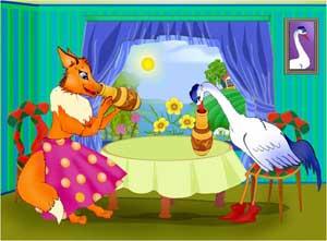 Сказка на английском - The fox and the crane, Лиса и журавль