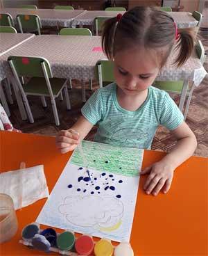 Конспект открытого занятия по одной из нетрадиционной техник рисования (рисование пипеткой) с детьми второй группы раннего возраста «Поиграй со мною, тучка!».