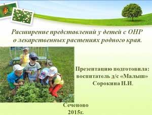 Материал к экологической конференции «Расширение представления у детей с ОНР о лекарственных растениях родного края»